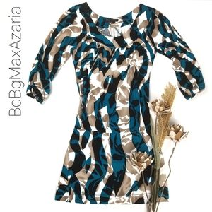 💥BCBGMAXAZRIA💥 Blue Tan Cream Body Con Dress S